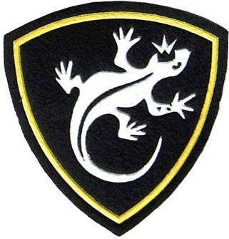 Sleave patch for Ural region of Russian interior forces. Lizard on black. 4x4 inch.