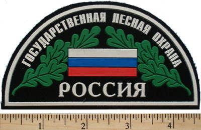 State forest conservation. Semicircle. Russian flag and Oak leaves.