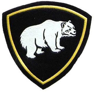 Polar bear on black. Sleeve patch for Siberian district of MVD