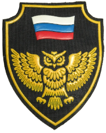 Owl and flag sleeve patch for MVD Spetsnaz unit FAKEL (torch). 3x4 inch.